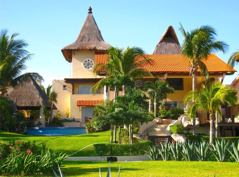 Mansion in Tropical Vacation Resort stock images