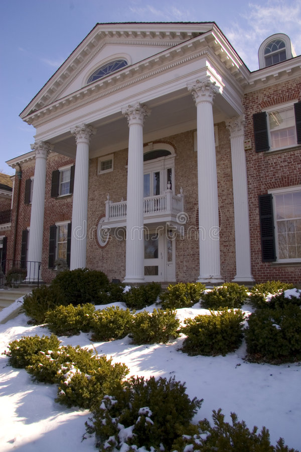 Download Mansion In Winter stock photo. Image of entrance, porticos - 87306
