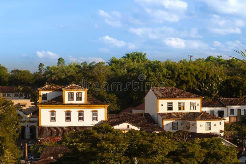 Mansiones viejas desde la colonización en Tiradentes, Minas Gerais, el Brasil foto de archivo libre de regalías