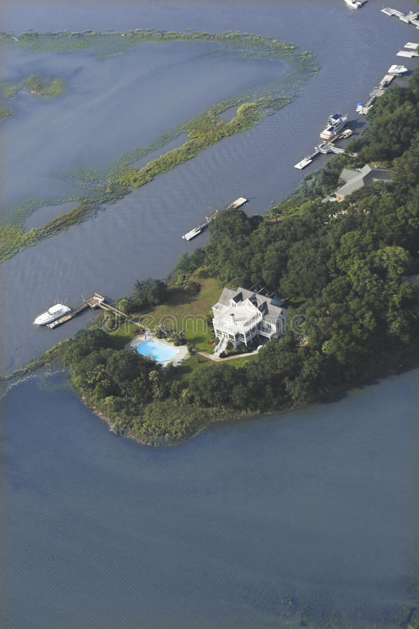 Mansions and yacht aerial stock images