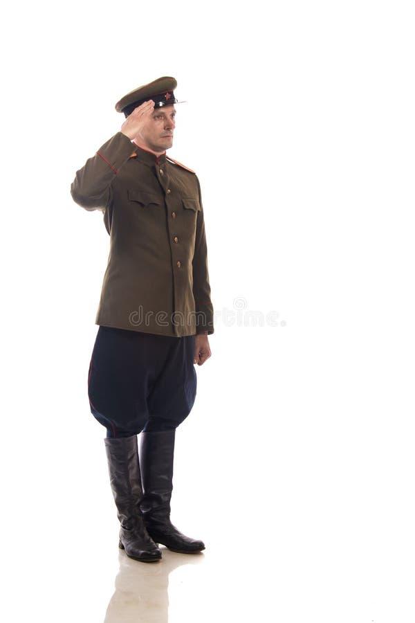 Manskådespelare i form av en intendentur för ` s för tjänstemankapten People av inrikes affärer av Ryssland från perioden 1943-19 royaltyfri fotografi