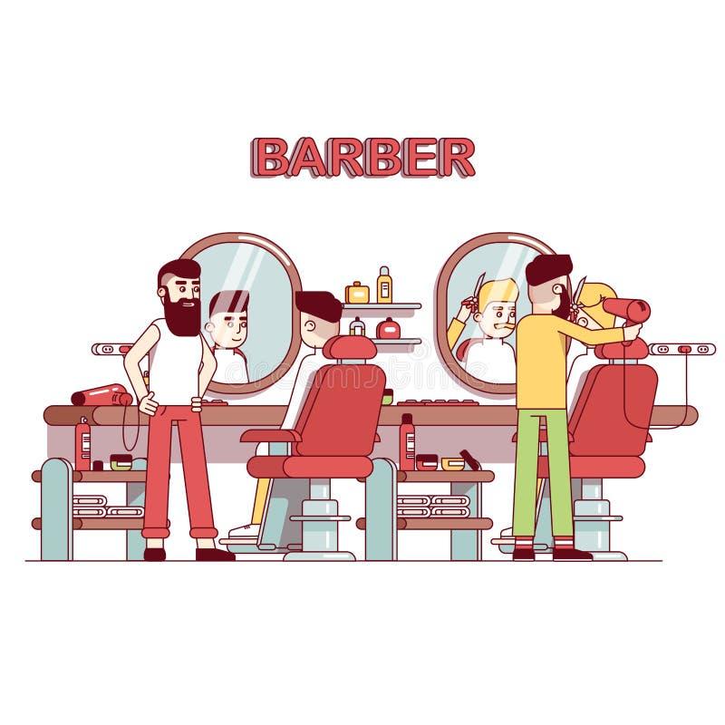 Manskönhetsalong Frisörbarberare som gör frisyr vektor illustrationer