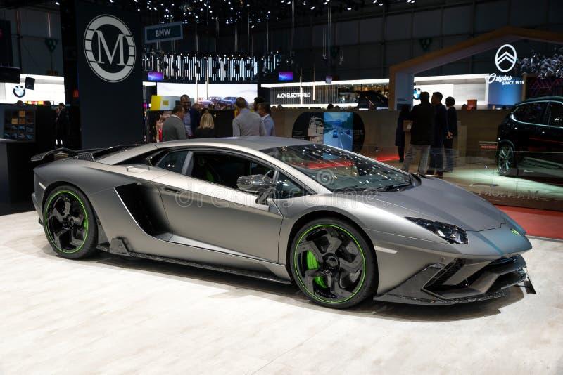 Mansory蓝宝坚尼Aventador SV Carbonado Evo跑车 免版税库存图片