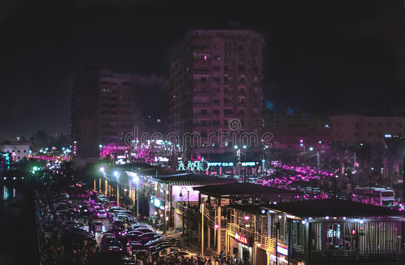 Mansoura city in Eid. A shot of a cars in the Mashaya st in Mansoura city with a cool lights in Eid royalty free stock photo