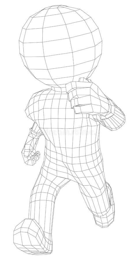 Manspring för docka 3d royaltyfri illustrationer