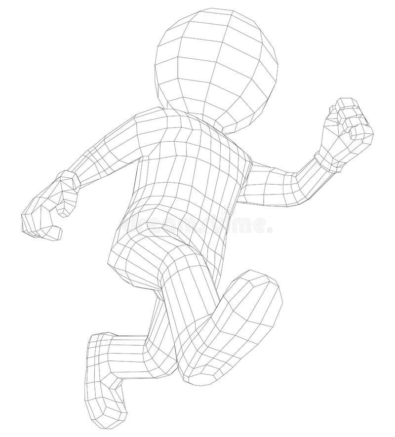 Manspring för docka 3d stock illustrationer