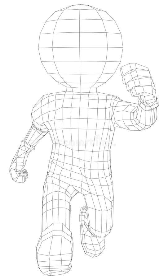 Manspring för docka 3d vektor illustrationer