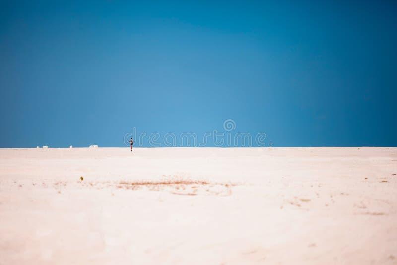 Manspring på stranden med t royaltyfri bild