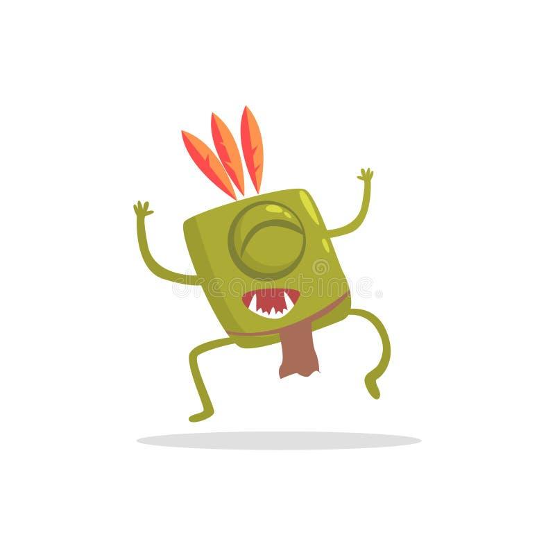Manster vert carré dans la danse indienne de costume illustration libre de droits