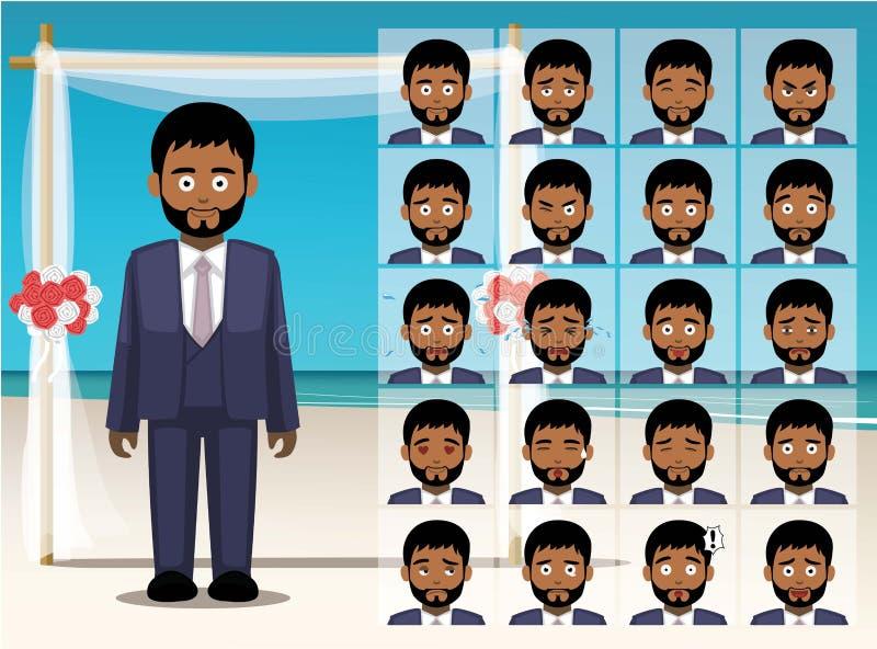 Mansvartbrudgummen Cartoon Emotion vänder mot vektorillustrationen royaltyfri illustrationer