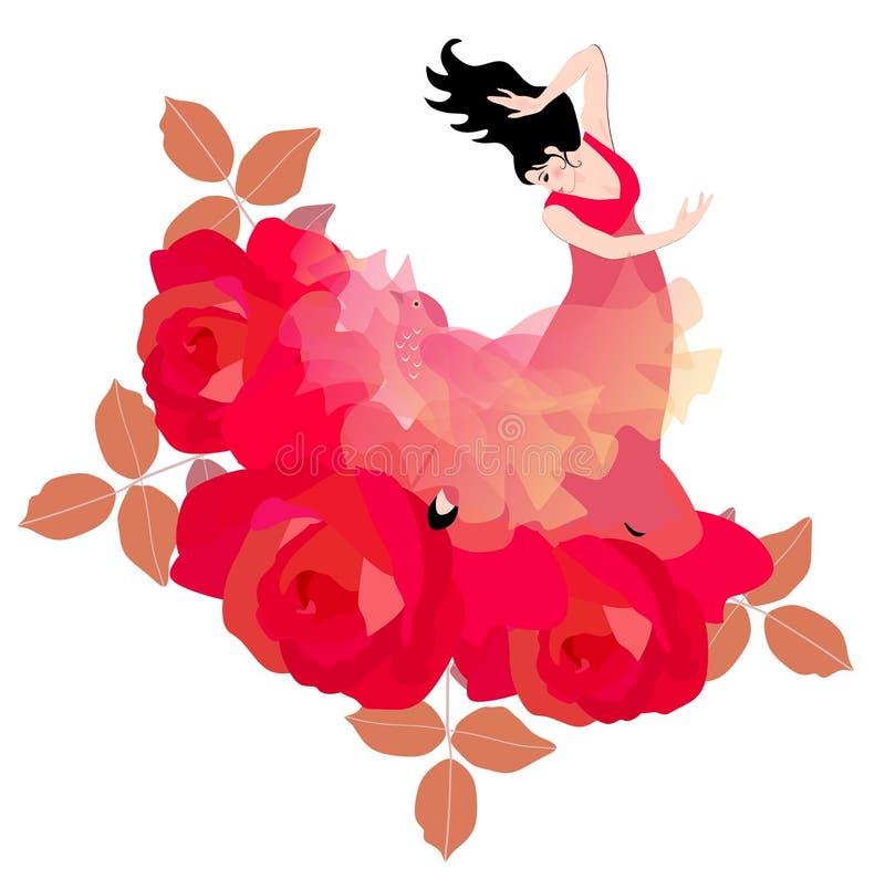 Mantón hermoso, como un pájaro fabuloso Las rosas rojas grandes simbolizan un jardín floreciente stock de ilustración