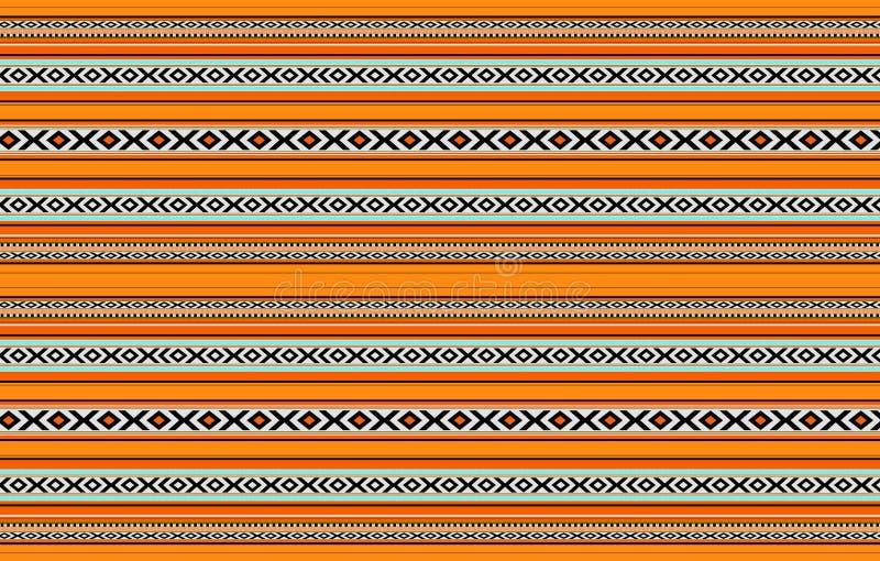 Manta anaranjada Handcrafted tradicional horizontal detallada de Sadu stock de ilustración