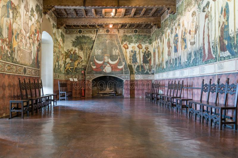 Manta Castle, imposing Castle dating back to the 13th century, which rises about forty kilometers from Turin - Baronial Hall. Enriched with the beautiful stock photo