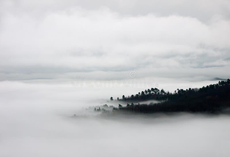 Manta de la niebla y de las colinas - opinión del birdseye foto de archivo libre de regalías