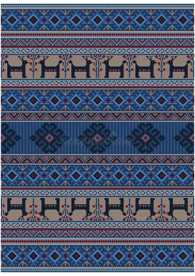 Manta oriental del vintage de lujo en sombras azules con los ciervos y las flores en fondo beige libre illustration