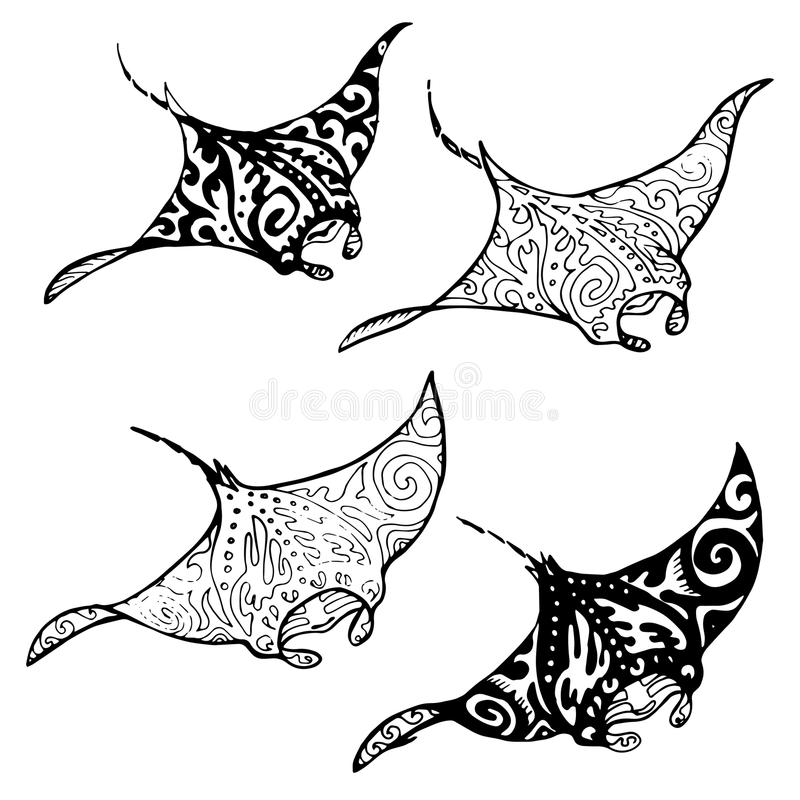 Manta ray and fish in the sea. Black and white stylized vector illustration stock illustration