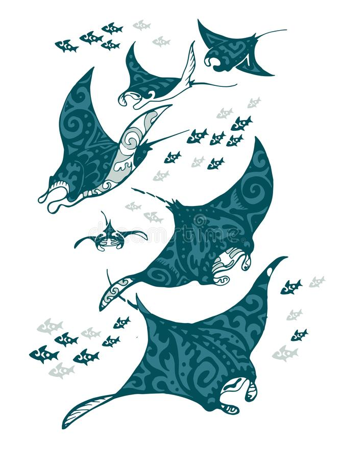 Manta ray and fish in the sea. Stylized vector illustration vector illustration