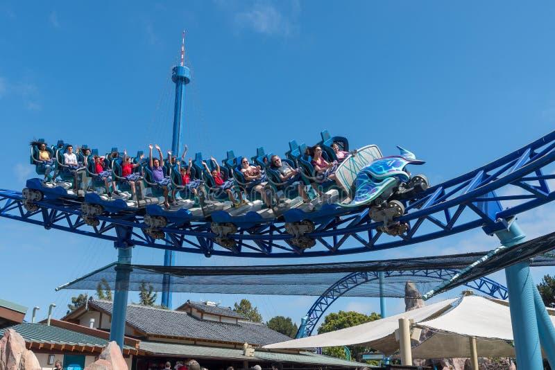 Manta Ray Roller Coaster Ride chez Seaworld San Diego la Californie du sud Etats-Unis photos stock