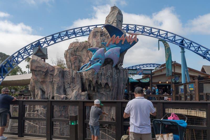 Manta Ray Roller Coaster Ride chez Seaworld San Diego la Californie du sud Etats-Unis images libres de droits