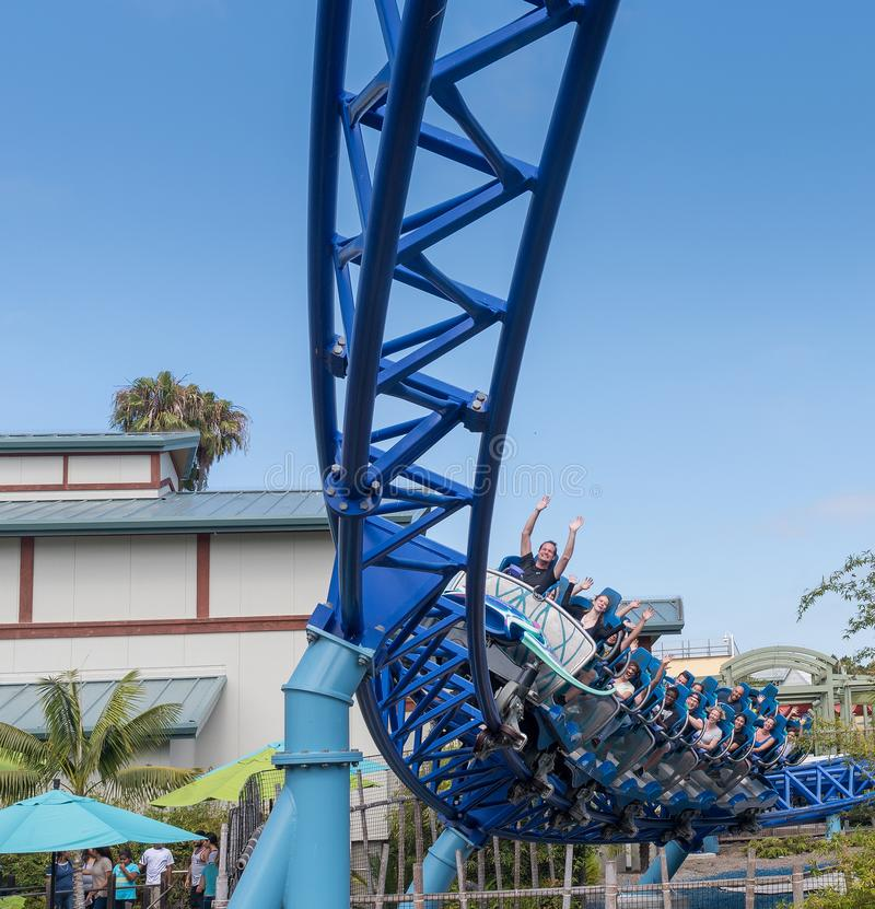 Manta Ray Roller Coaster Ride chez Seaworld San Diego la Californie du sud Etats-Unis images stock