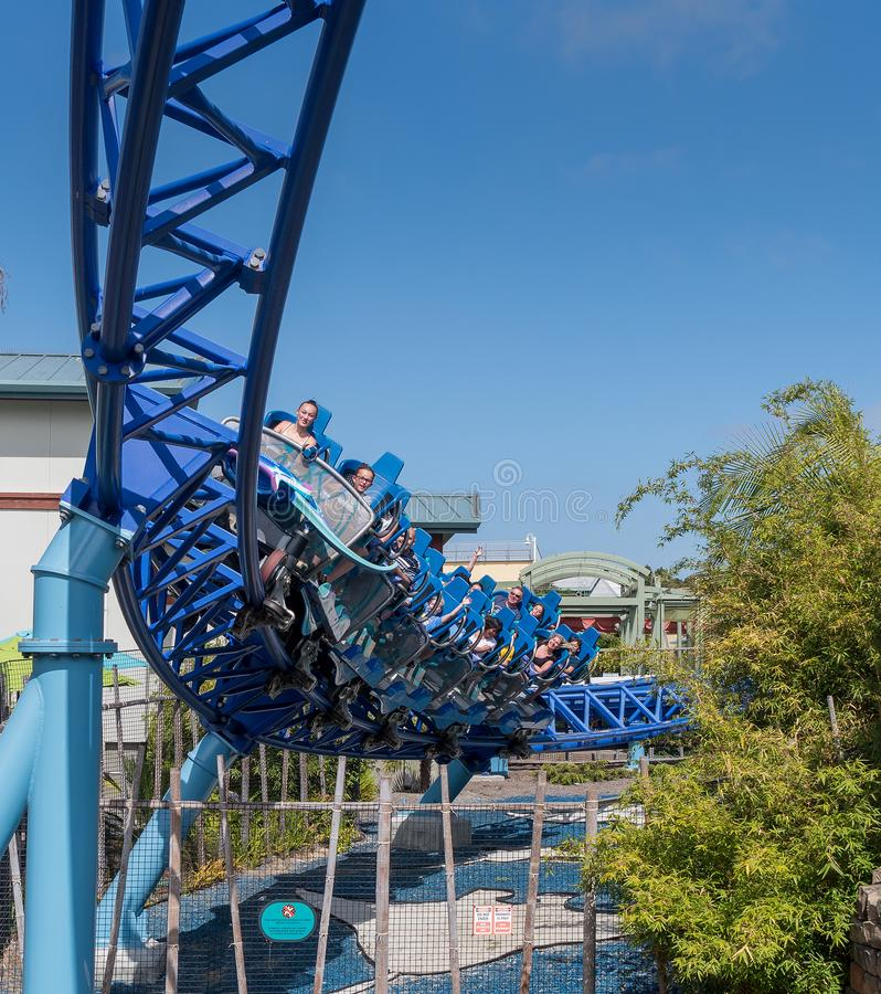 Manta Ray Roller Coaster Ride at Seaworld San Diego southern california USA. People riding the roller coaster at the sea world san Diego. The ride is very stock images