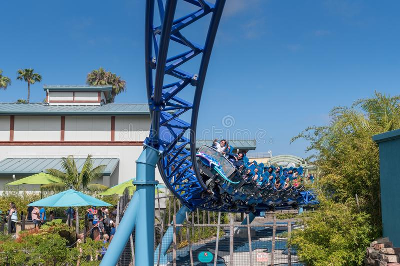 Manta Ray Roller Coaster Ride at Seaworld San Diego southern california USA. People riding the roller coaster at the sea world san Diego. The ride is very stock photography