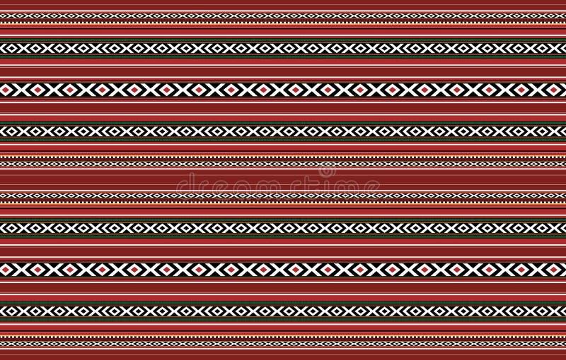 Manta roja Handcrafted tradicional horizontal detallada de Sadu ilustración del vector
