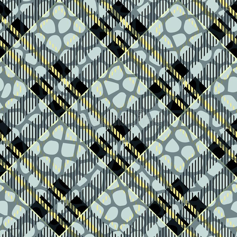 Manta, tartã sem emenda com couro do teste padrão da pele do crocodilo crocodilo pele wallpaper Fundo monocromático Papel textile ilustração do vetor