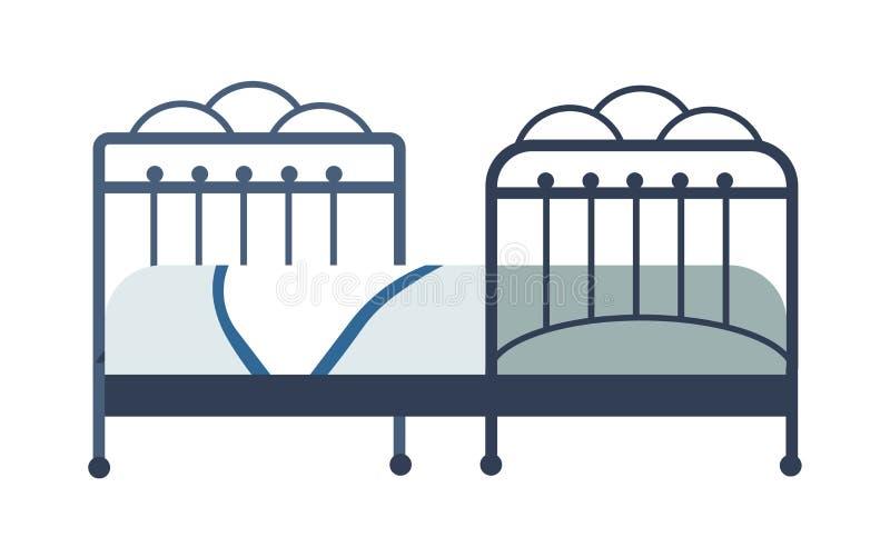 Manta y lino aislados muebles del objeto del dormitorio de la cama libre illustration