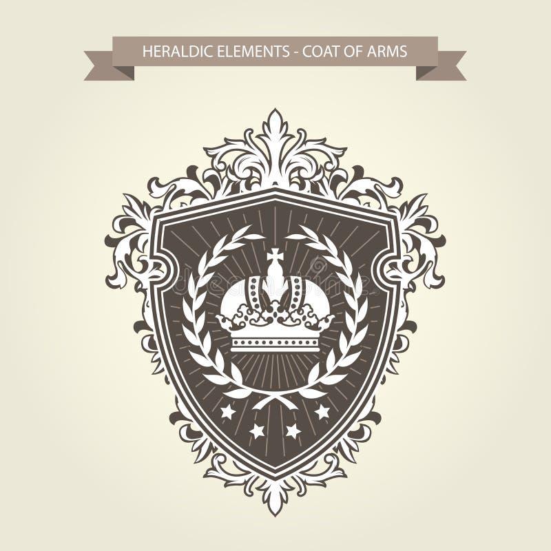 Manteau de famille des bras - bouclier héraldique avec la couronne illustration de vecteur