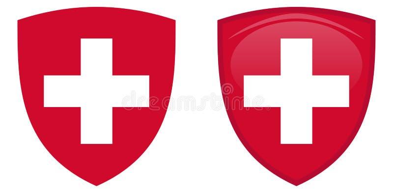 Manteau de la Suisse des bras Croix helvetic blanche dans le bouclier rouge La Floride illustration stock