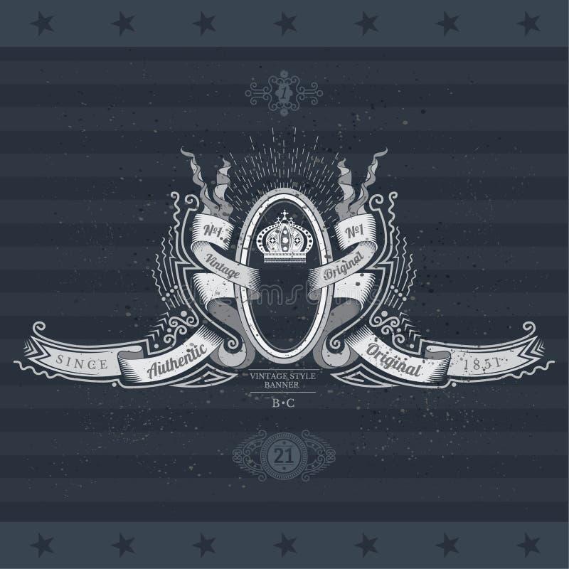Manteau des bras avec la couronne et le cadre ovale entre les rubans sur le tableau noir illustration stock