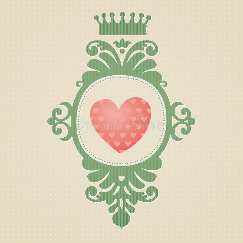 Manteau des bras avec le coeur sur le fond sans couture clair. illustration libre de droits