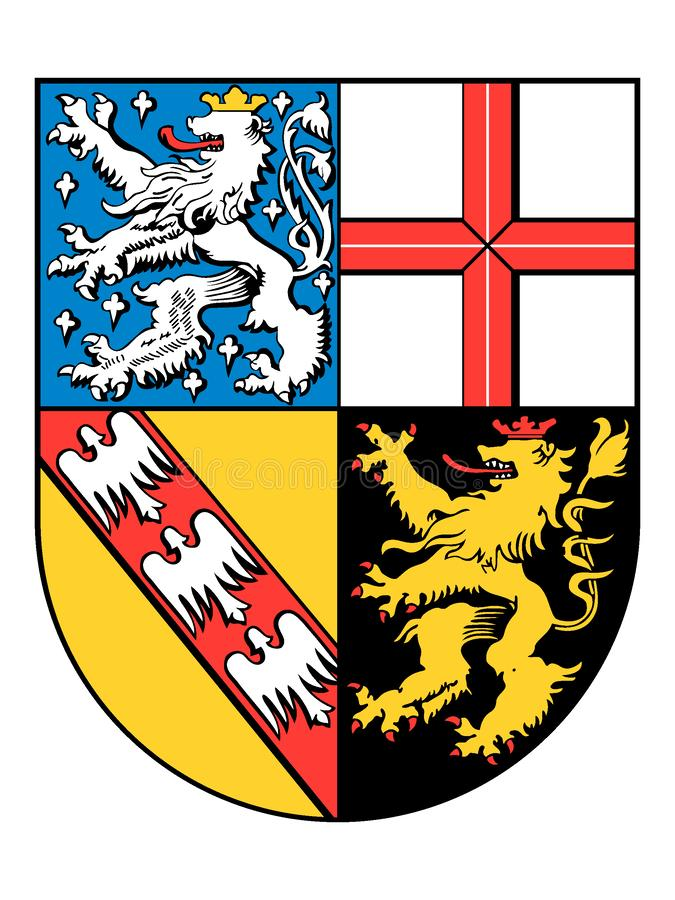 Manteau des bras de l'état allemand de Sarre illustration stock