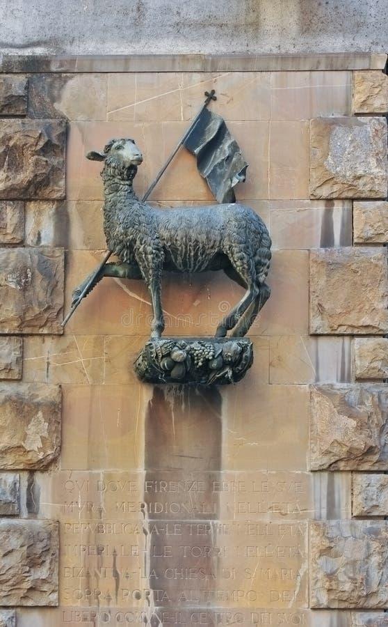 Manteau des bras de la guilde de laine - della Lana, Florence, Italie d'Arte images stock