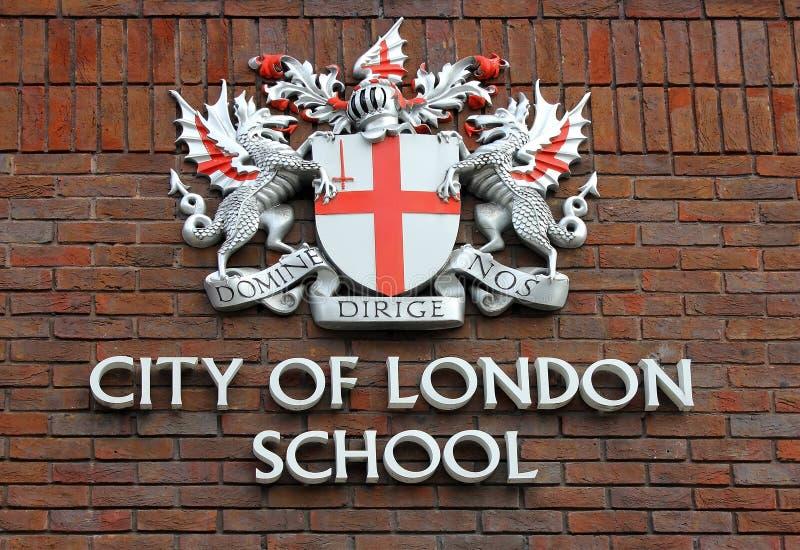 Manteau des bras de la ville de l'école de Londres photos libres de droits