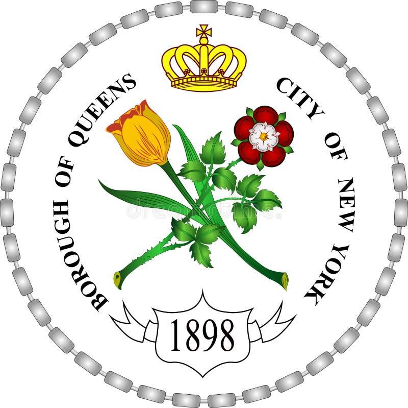 Manteau des bras du Queens à New York, Etats-Unis illustration de vecteur
