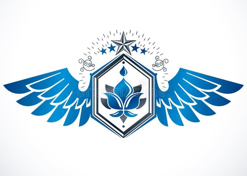Manteau des bras h?raldique, embl?me ? ailes de vecteur de cru compos? avec le symbole royal de fleur de lis et pentagonal illustration de vecteur