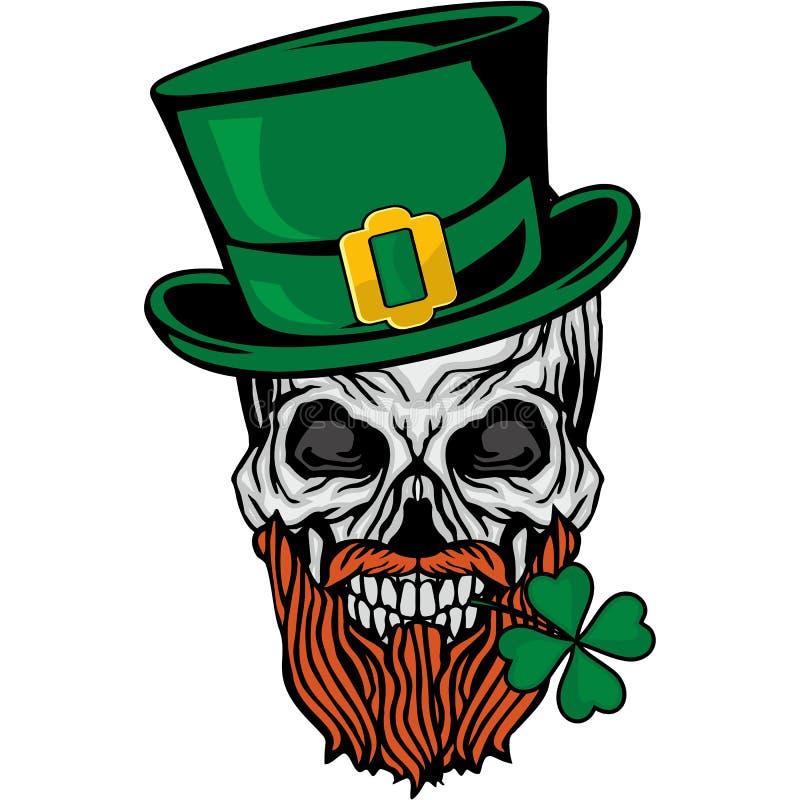 Manteau des bras irlandais avec le crâne et le trèfle illustration de vecteur