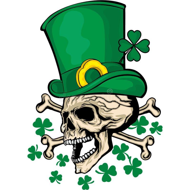 Manteau des bras irlandais avec le crâne et le trèfle illustration libre de droits