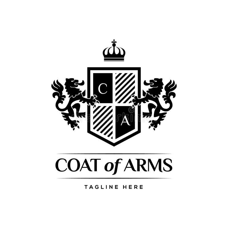Manteau des bras Logo Design Concept de luxe héraldique illustration stock