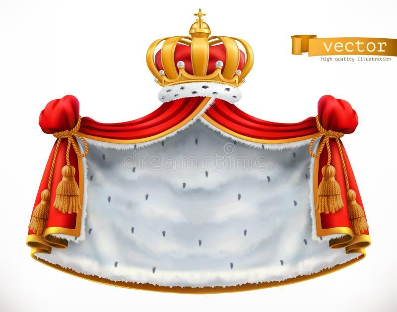 Manteau et couronne royaux vecteur du graphisme 3d illustration stock