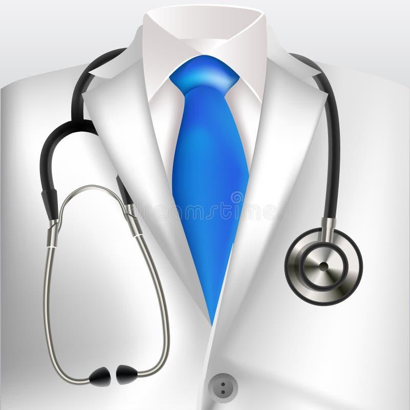 Manteau et stéthoscope blancs de laboratoire de médecins illustration de vecteur