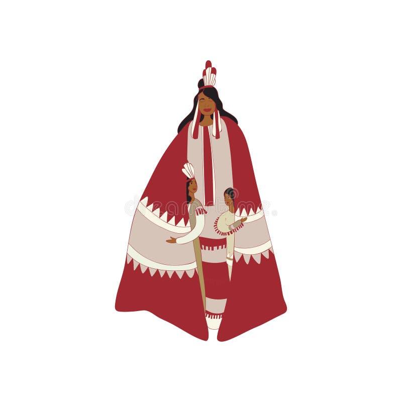 Manteau indien rouge de mère abritant des enfants Illustration de vecteur illustration libre de droits