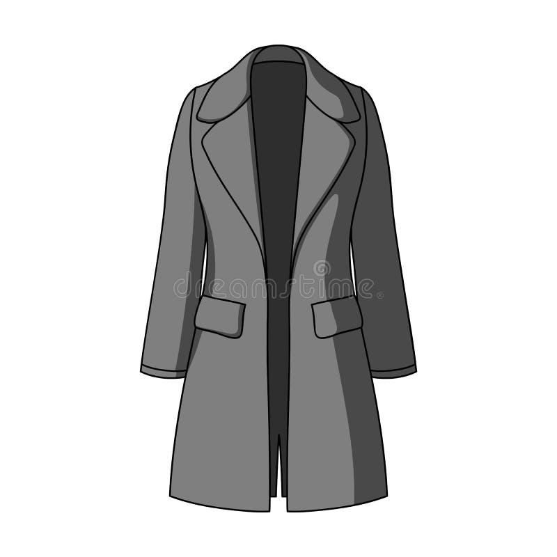 Manteau retenu femelle bleu boutonné Survêtement des femmes s Icône simple d'habillement de femmes dans le symbole monochrome de  illustration de vecteur