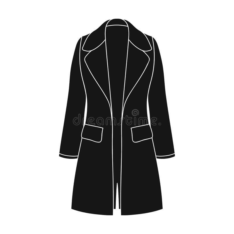 Manteau retenu femelle bleu boutonné Survêtement des femmes s Icône simple d'habillement de femmes en stock noir de symbole de ve illustration libre de droits