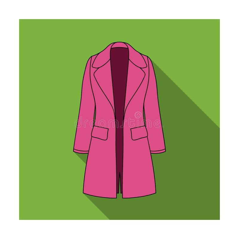 Manteau retenu femelle bleu boutonné Survêtement des femmes s Icône simple d'habillement de femmes en stock plat de symbole de ve illustration libre de droits