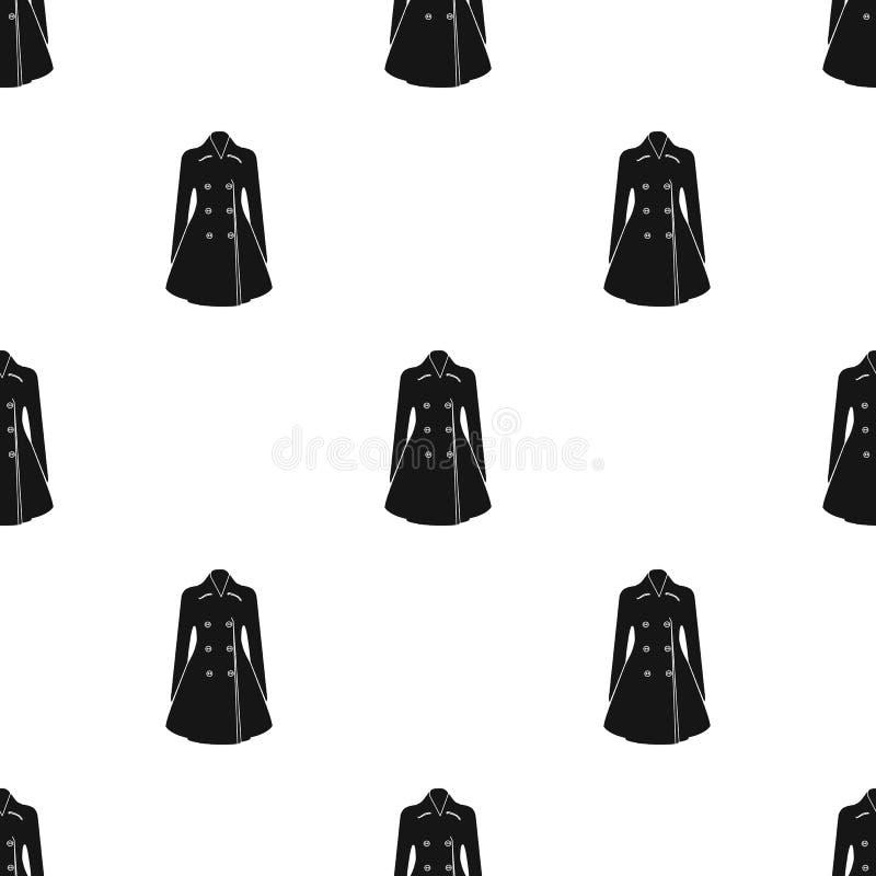 Manteau retenu femelle bleu boutonné Survêtement des femmes s La femme vêtx l'icône simple en stock noir de symbole de vecteur de illustration de vecteur