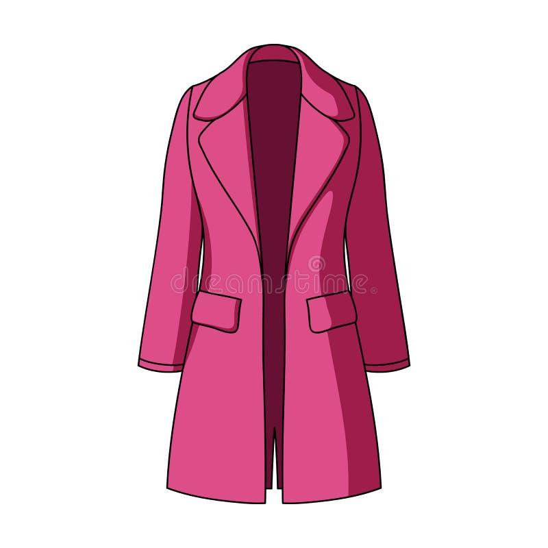 Manteau retenu femelle bleu boutonné Survêtement du ` s de femmes Icône simple d'habillement de femmes en stock de symbole de vec illustration stock