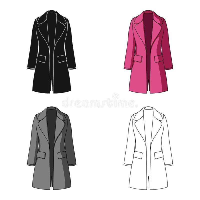 Manteau retenu femelle bleu boutonné Survêtement du ` s de femmes Icône simple d'habillement de femmes en stock de symbole de vec illustration de vecteur